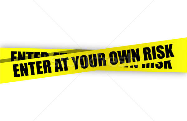 Enter at your own risk yellow caution tape Stock photo © alexmillos