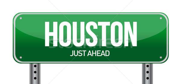 Jelzőtábla Houston város felirat zöld utazás Stock fotó © alexmillos