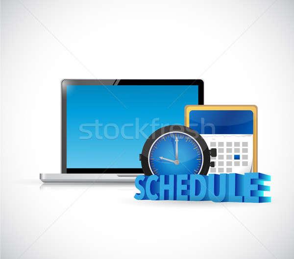 Schema computer kalender illustratie ontwerp witte Stockfoto © alexmillos