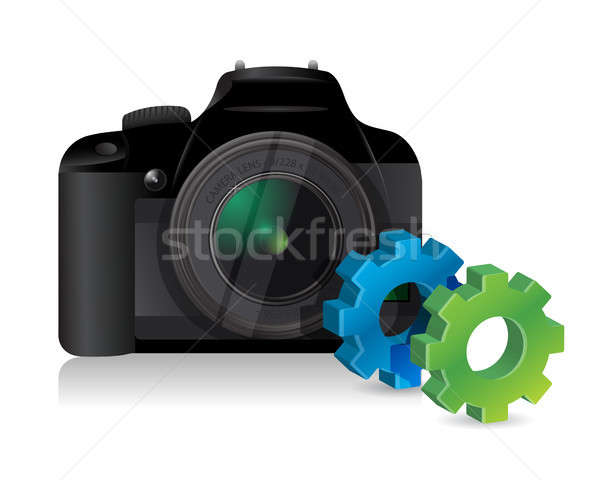 camera with industrial gears Stock photo © alexmillos