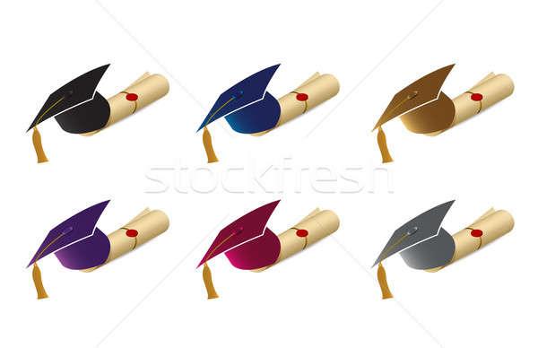 graduation caps, mortarboards and diploma scrolls Stock photo © alexmillos