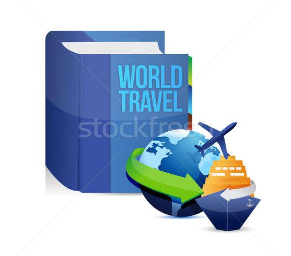 Könyv világutazás cím illusztráció terv fehér Stock fotó © alexmillos