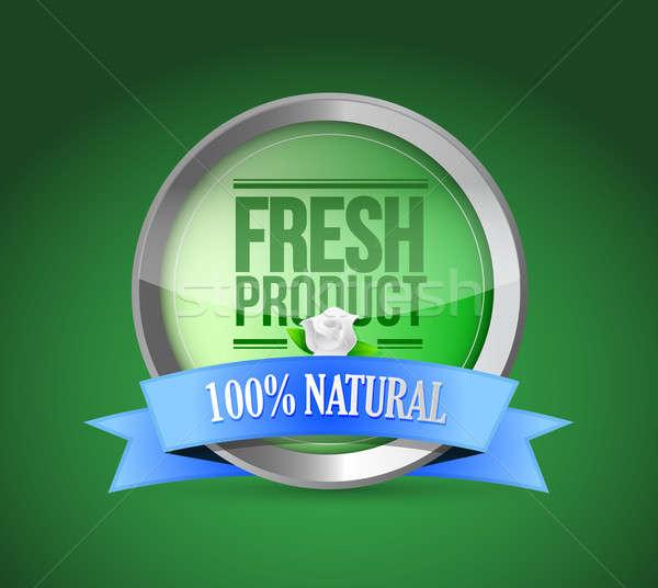 Vers voedsel product schild goedkeuring illustratie ontwerp Stockfoto © alexmillos