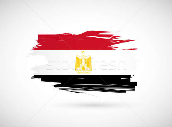 Stock photo: Egypt. Egyptian flag painted with watercolor.