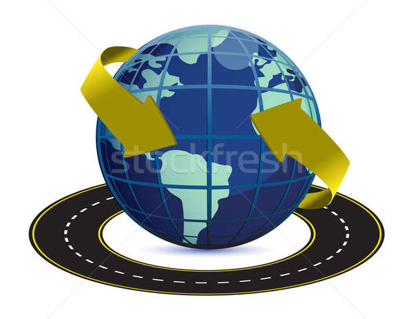 illustration of road around the earth on white background Stock photo © alexmillos
