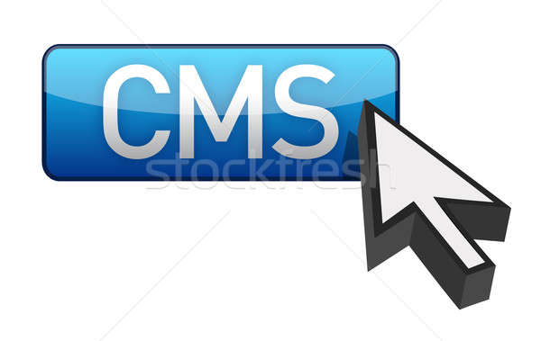 CMS blue cursor and button illustration Stock photo © alexmillos