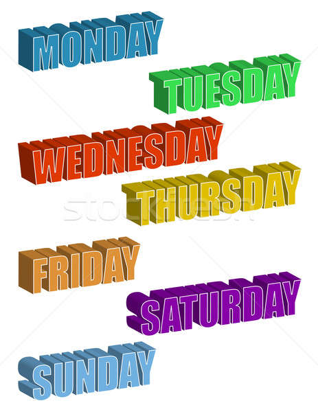text. Days of the Week isolated over a white background / Days o Stock photo © alexmillos