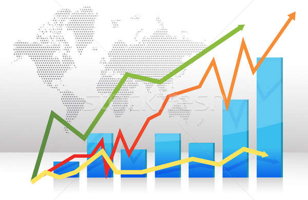 Finance bar graph with arrows illustration Stock photo © alexmillos