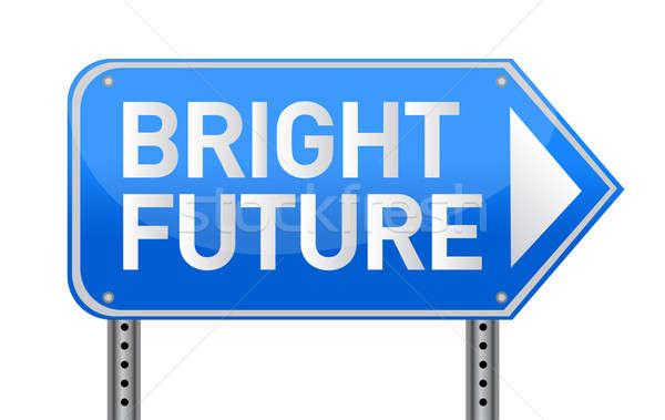 Photo realistic metallic reflective 'bright future' sign, isolat Stock photo © alexmillos