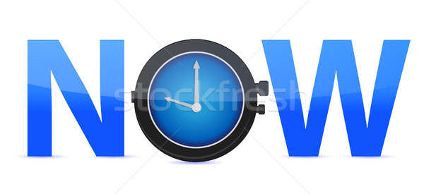word Now with a clock in the letter O Stock photo © alexmillos