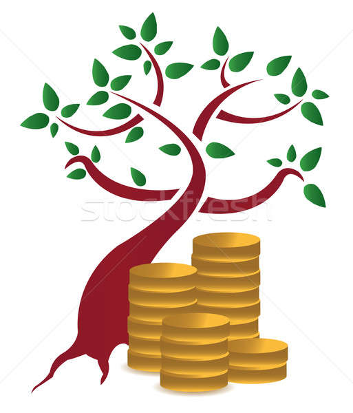 money tree and coins design over a white background Stock photo © alexmillos