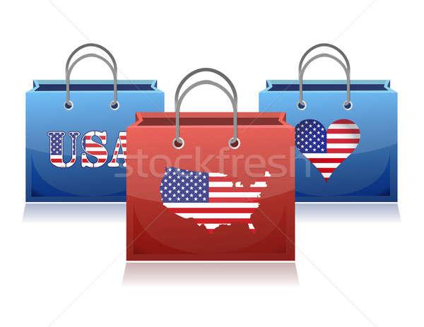 Bevásárlótáskák illusztráció térkép háttér bolt táska Stock fotó © alexmillos