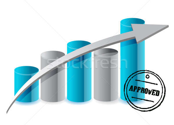 approved graph projection illustration design over white Stock photo © alexmillos