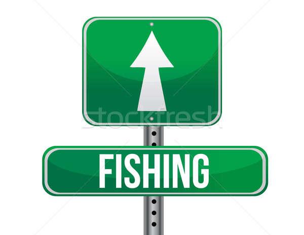 Balık tutma trafik yol işareti örnek dizayn beyaz Stok fotoğraf © alexmillos