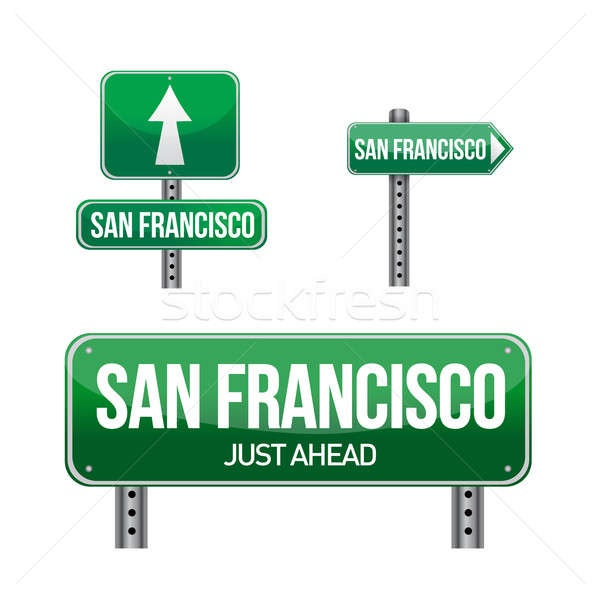 san francisco city road sign illustration design over white Stock photo © alexmillos