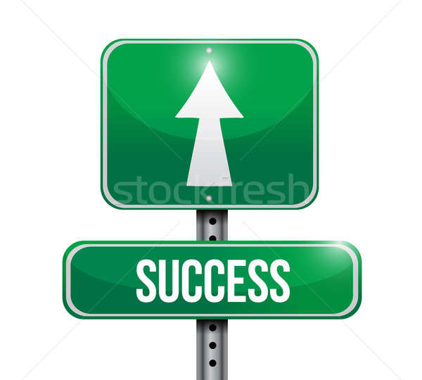 success road sign illustration design over a white background Stock photo © alexmillos