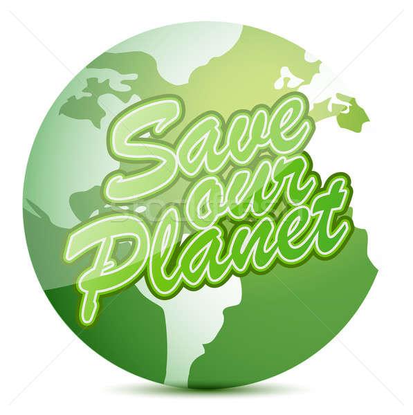 Salvar planeta globo ilustração projeto branco Foto stock © alexmillos