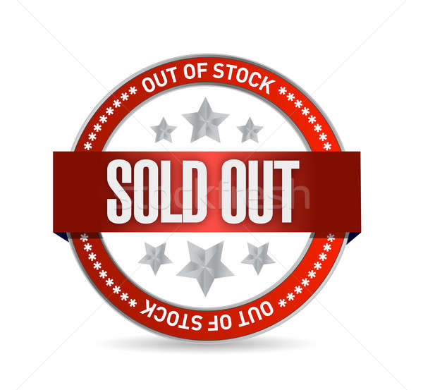 Sold Out Stamp seal illustration design over white Stock photo © alexmillos