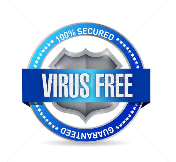 virus free seal or shield illustration design over white Stock photo © alexmillos