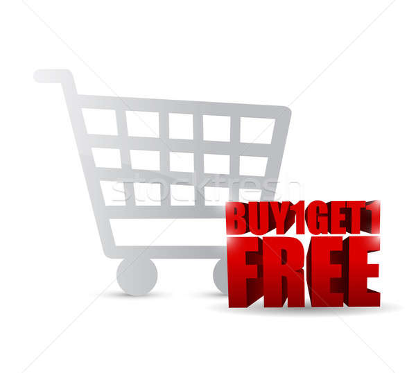 buy one and get one free shopping cart illustration design Stock photo © alexmillos