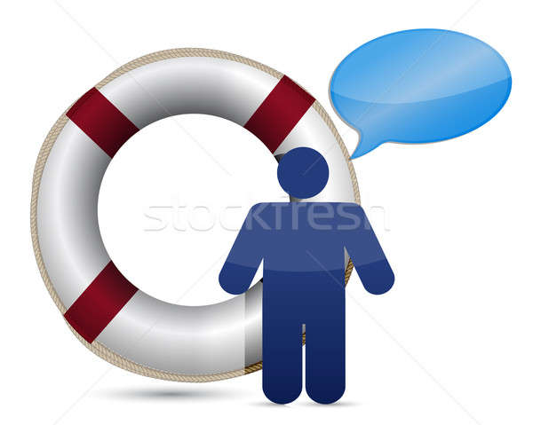sos lifesaver message icon illustration design over white Stock photo © alexmillos