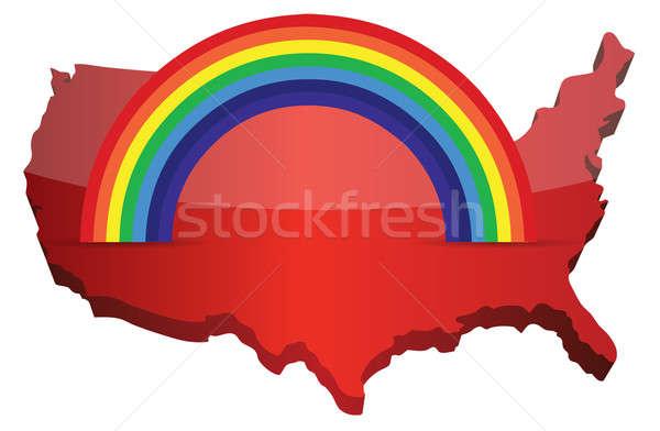Kaart regenboog illustratie ontwerp achtergrond groene Stockfoto © alexmillos