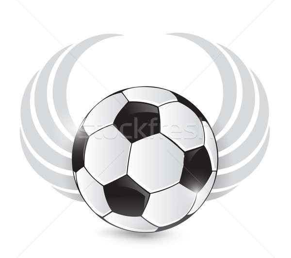 soccer ball with wings. illustration design over white Stock photo © alexmillos