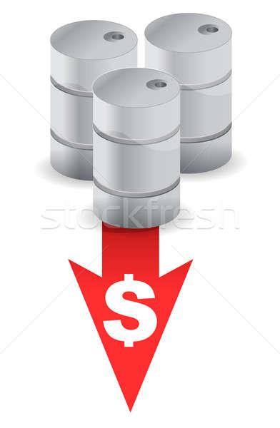 oil prices going down illustration design over white Stock photo © alexmillos