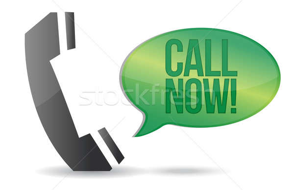 call now phone sign illustration design over white Stock photo © alexmillos