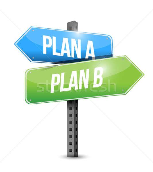 Plan plan b yol işareti örnek dizayn beyaz Stok fotoğraf © alexmillos