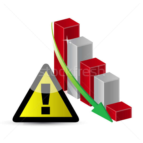 Warning sign with a failing business graph  Stock photo © alexmillos