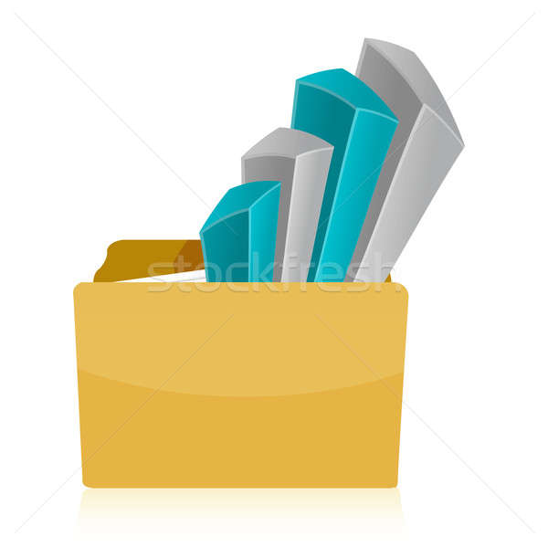 Stock photo: folder Business graph illustration design over a white backgroun