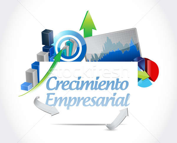 Business Growth chart sign in Spanish. Stock photo © alexmillos