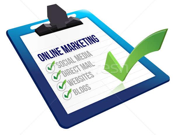 буфер обмена Интернет маркетинг инструменты иллюстрация дизайна белый Сток-фото © alexmillos