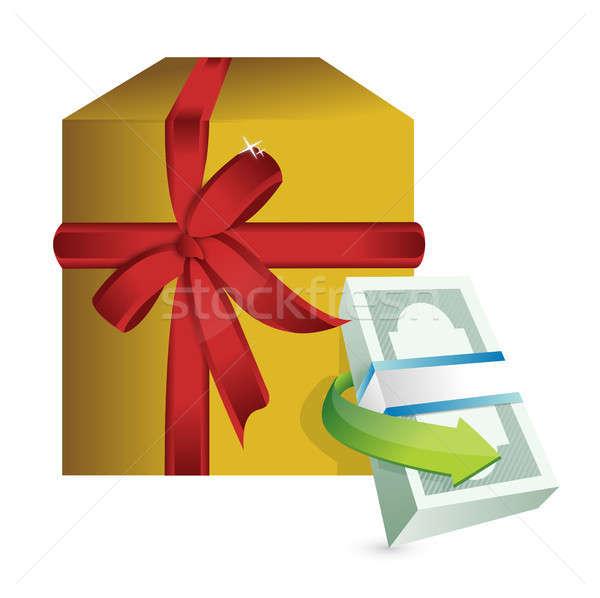 Monetair aanwezig geschenk illustratie ontwerp witte Stockfoto © alexmillos