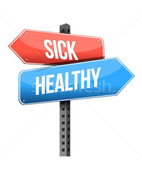 sick, healthy road sign Stock photo © alexmillos