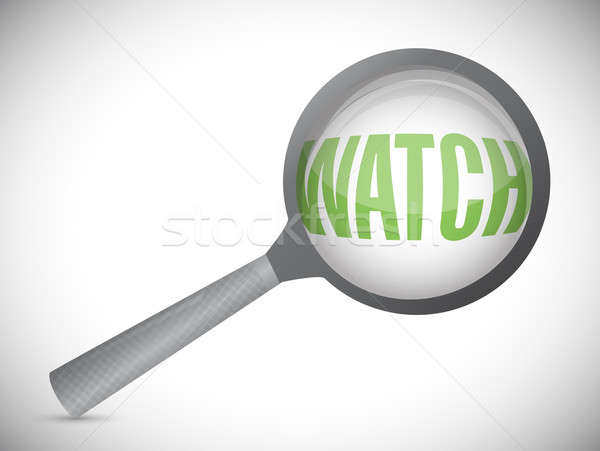 word watch under a magnifier. illustration design Stock photo © alexmillos