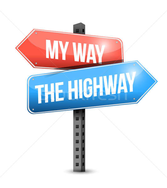 my way, the highway. road sign illustration Stock photo © alexmillos