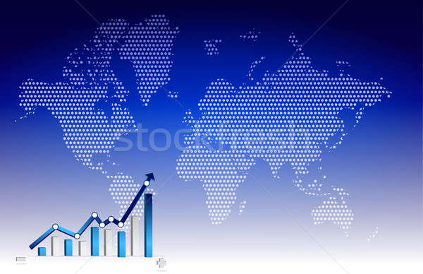 Business graph with world background illustration design Stock photo © alexmillos