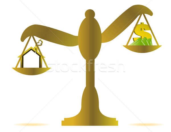 House prices on balance scale Stock photo © alexmillos