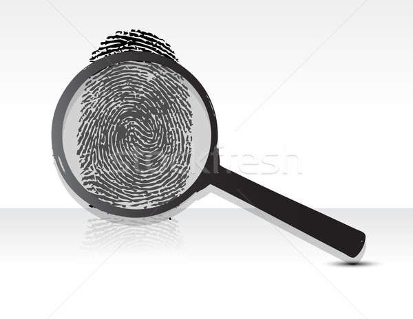 Illustration of a magnifying glass over a fingerprint Stock photo © alexmillos