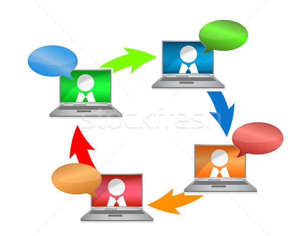 Бизнес-сеть связи иллюстрация дизайна заседание мужчин Сток-фото © alexmillos