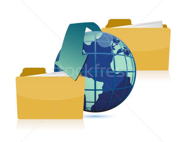 Date transferring around the world concept design Stock photo © alexmillos