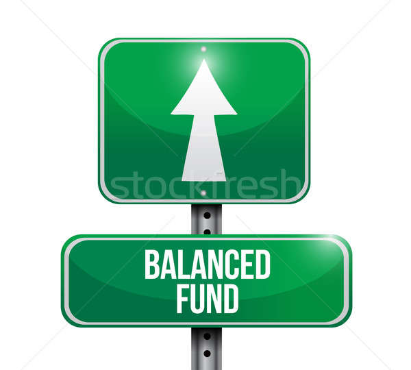 balanced fund road sign illustrations design over white Stock photo © alexmillos