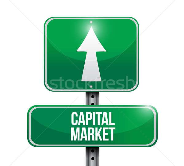 capital market road sign illustrations design over white Stock photo © alexmillos