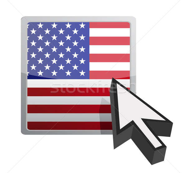US button and cursor illustration design over white Stock photo © alexmillos