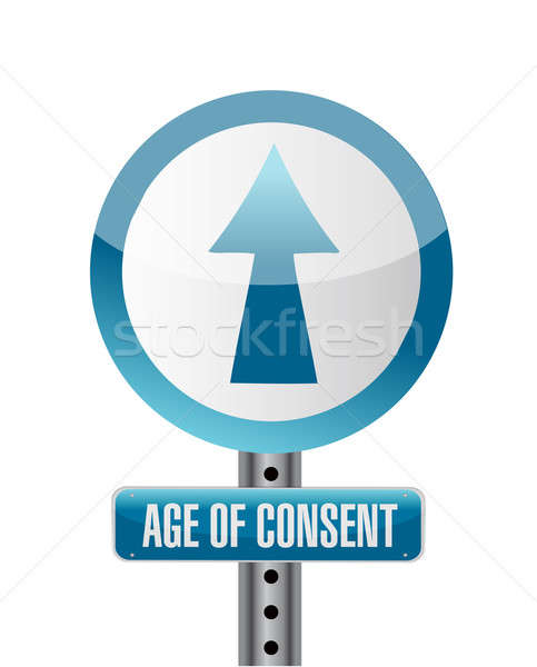 sign with an under age concept illustration design over white Stock photo © alexmillos