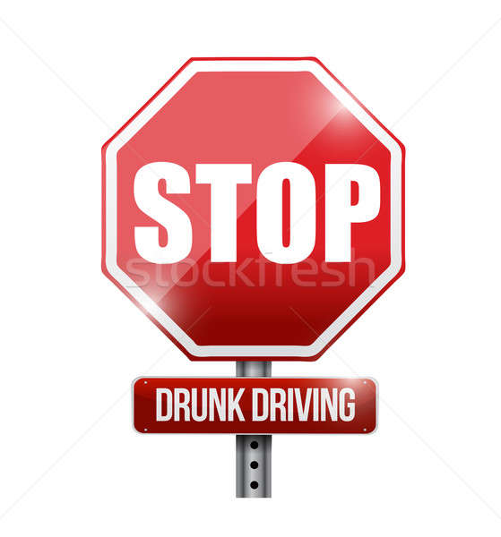 stop drunk driving road sign illustration design over a white ba Stock photo © alexmillos