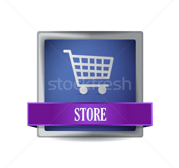 store E-commerce icon illustration design over a white Stock photo © alexmillos