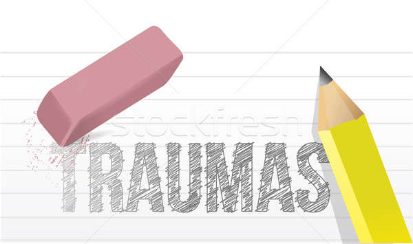 erasing traumas concept illustration design over white Stock photo © alexmillos